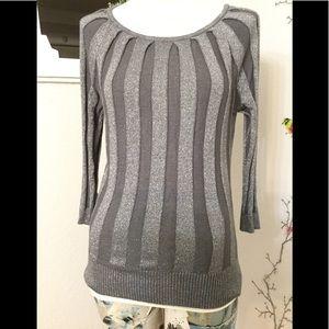 Joseph A. Metallic Gray Striped Pattern Sweater M